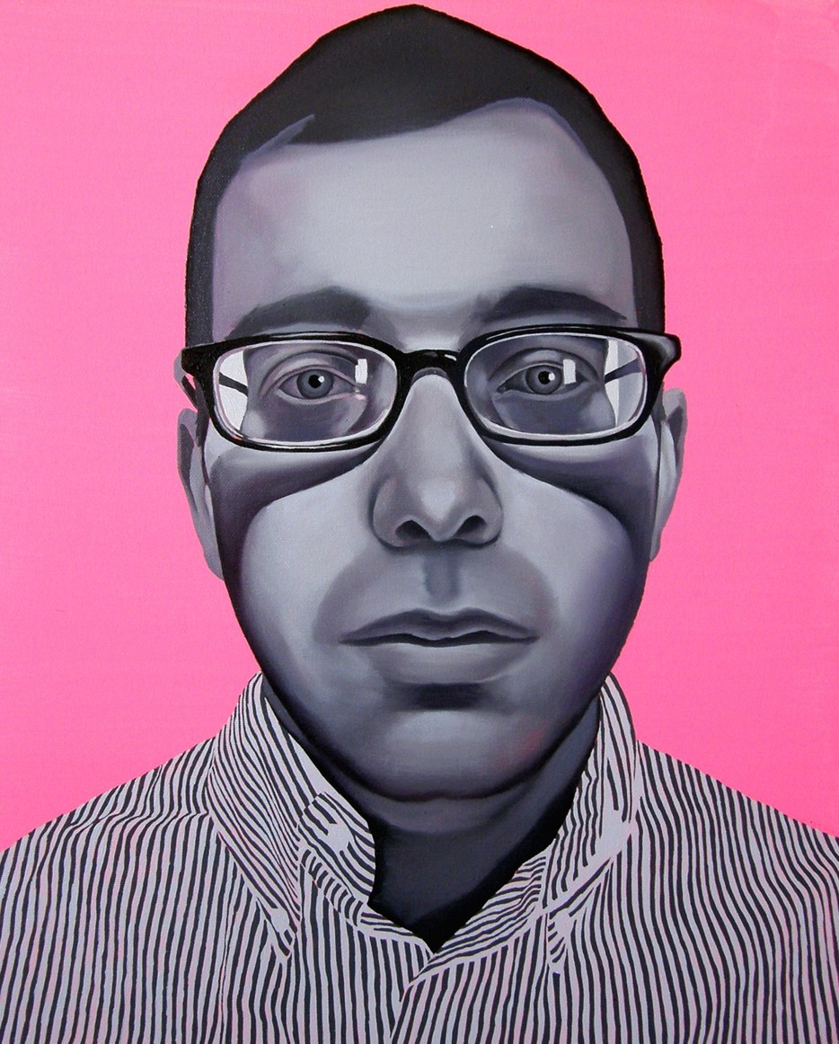"""INVISIBLE MEN BLACK&PINK"" 2008, 2008 Oil on Canvas 24 × 19 7/10 in 61 × 50 cm"