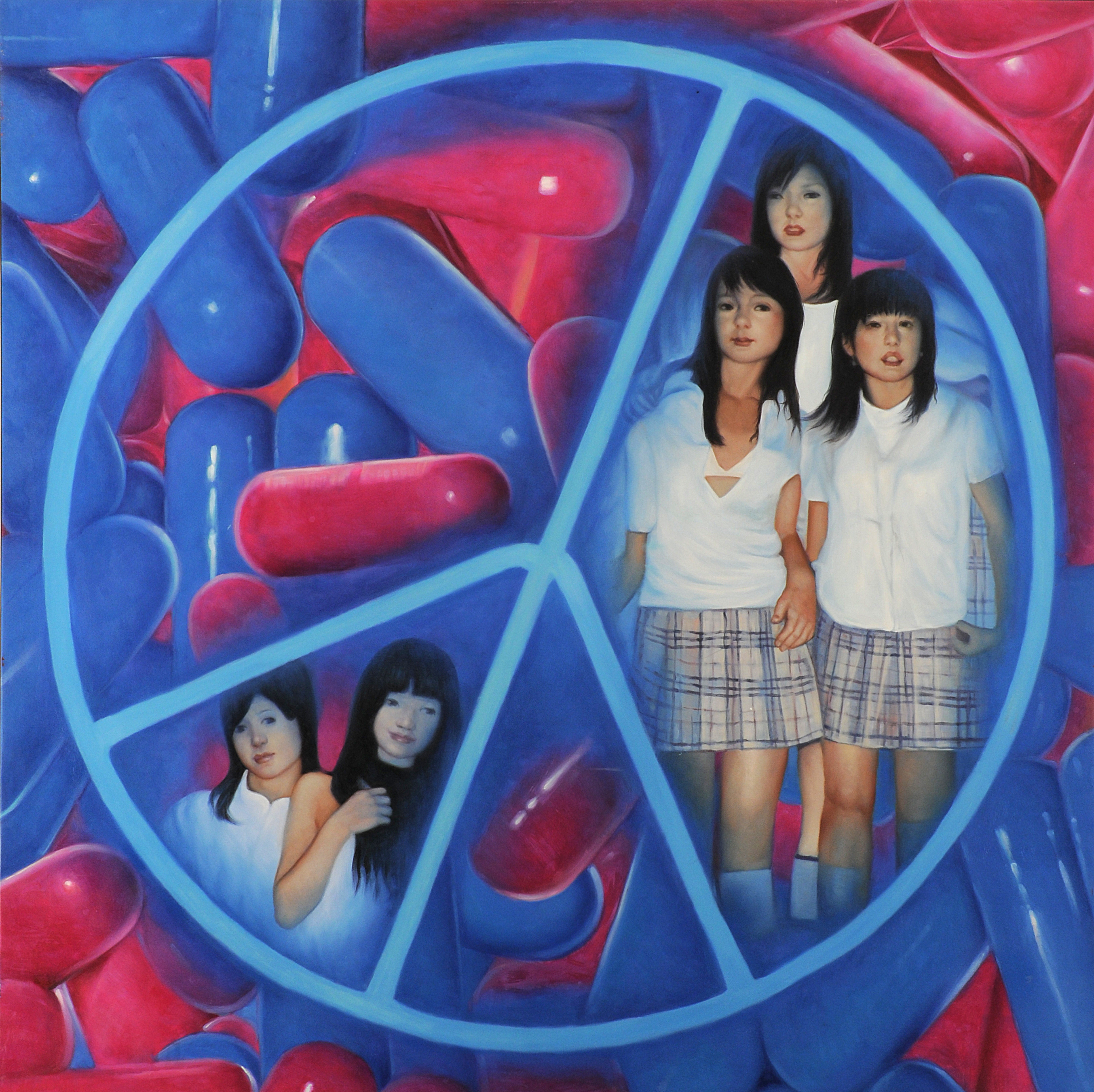 """LOVE AND PILLS"", 2009 Oil on Canvas 150 x 150 cm"