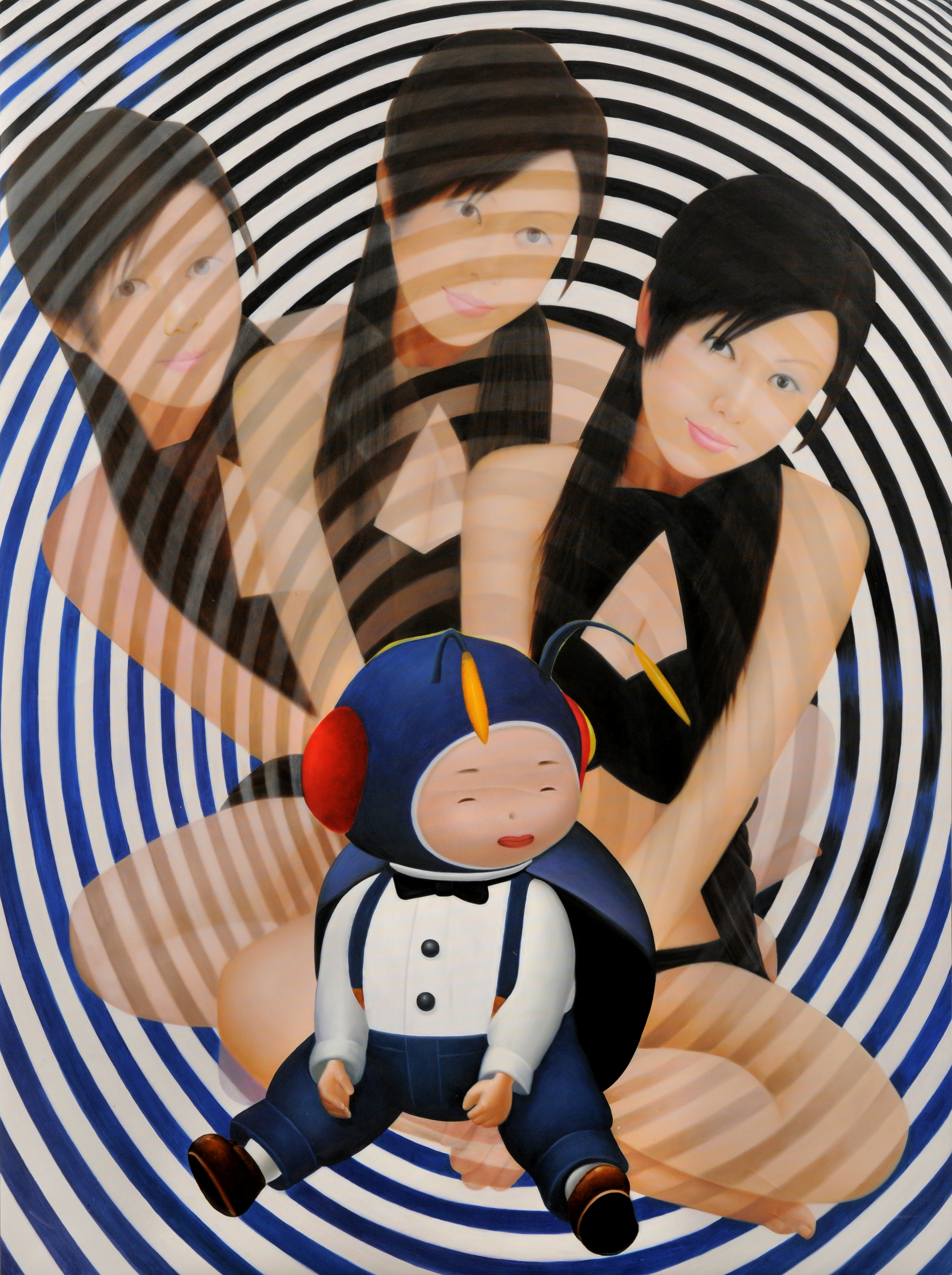 """BLACKCIRCLES"" Oil on Canvas, 2009 70 9/10 × 53 1/10 in 180 × 135 cm"