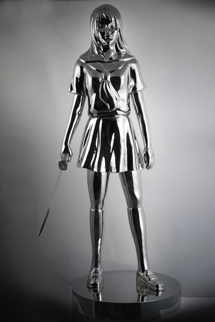 "Hiro Ando ""SATOMI.N Serie of 4 SCHOOL GIRLS BATTLE ROYALE""  160cm, 2015 Stainless Steel Polished 63 in 160 cm Edition of 8"