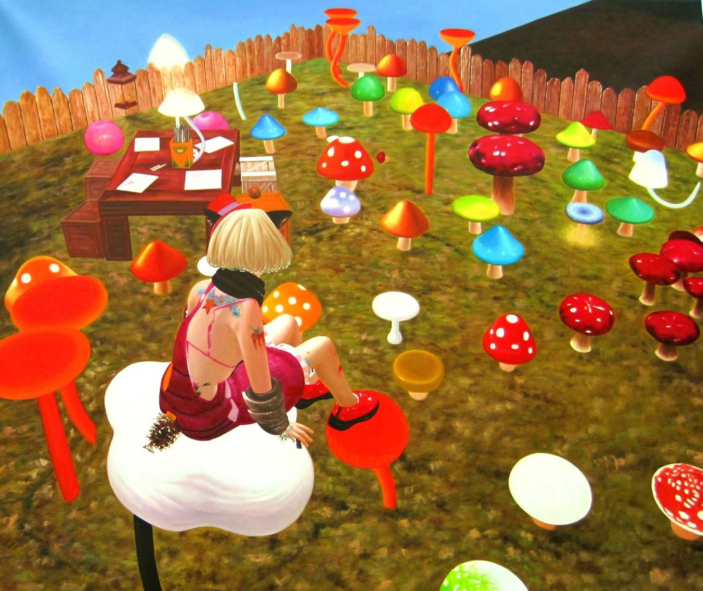 """CRAZYMUSHROOMS2"" Oil on Canvas, 2011 47 1/5 × 55 1/2 in 120 × 141 cm"