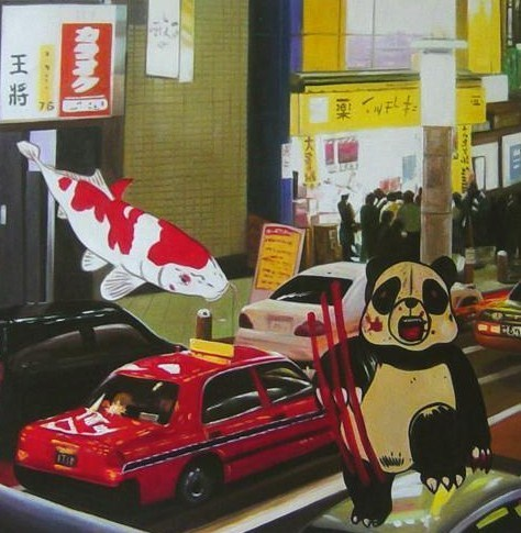 """""""TAXI PANDA""""   2009 Oil on Canvas 21 7/10 × 21 7/10 in 55 × 55 cm"""