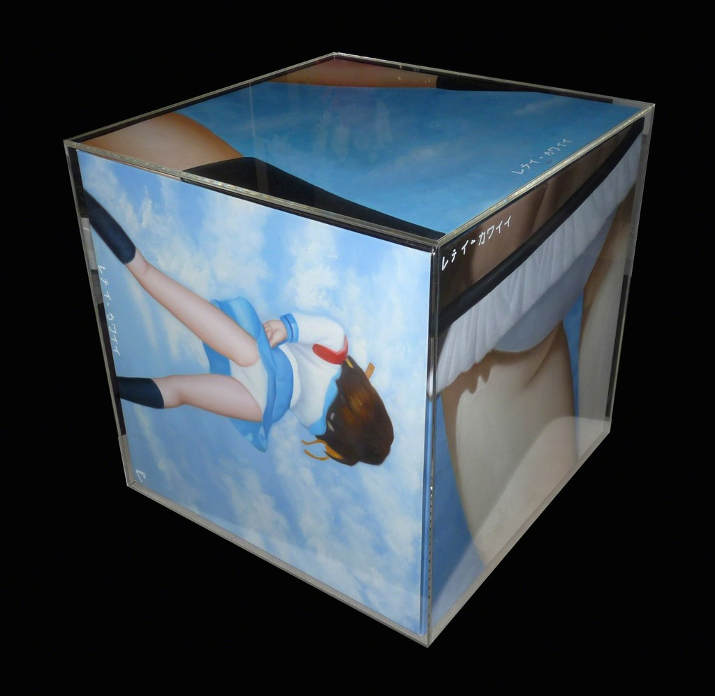 """CUBES"" OilonCanvas&Plexy 2011, 2011 Oil on Canvas + Plexy 19 7/10 × 19 7/10 × 19 7/10 in 50 × 50 × 50 cm"